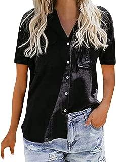 Sunhusing Women's Solid Color V-Neck Casual Button Buckle Short Sleeve Shirt Joker Office T-Shirt