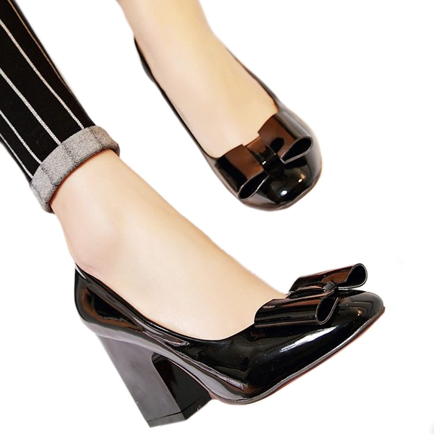 Patent Leather Low-cut Women Thin Shors Round High Heel Plus Size black 39