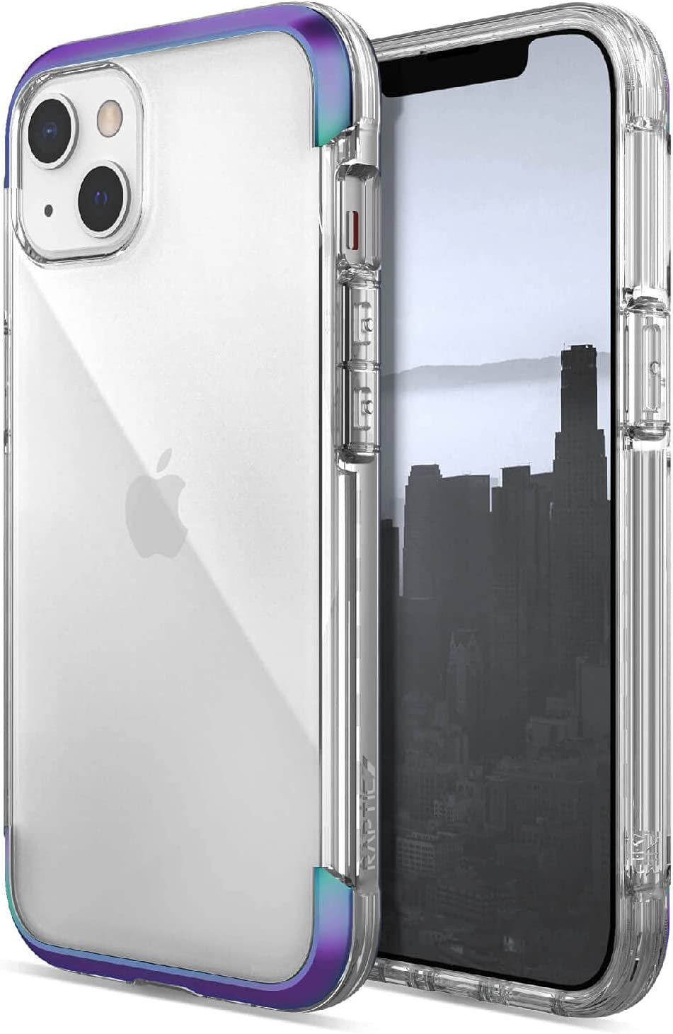 Raptic Air Case Compatible with iPhone 13 Case, Scratch Resistant, Aluminum Metal Bumper, Wireless Charging, 13ft Drop Protection, Fits iPhone 13, Iridescent