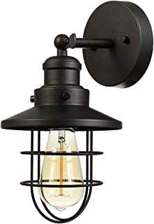 Globe Electric 59123 Beaufort 1-Light Wall Sconce, Dark Bronze, Removable Cage Shade