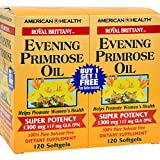 American Health Royal Brittany Evening Primrose Oil Softgels, 2 Pack - Promotes Women's Health - Nutritional Support for Women With PMS - Non-GMO, Gluten-Free - 1300 mg, 120 Count, 240 Total Servings