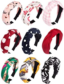 Utkarsh (Set of 9 Pcs) Multicolor Solid Fabric Pattern Korean Style Fabric Knotted with Tape Plastic Hair Band/head Band f...