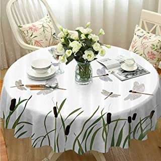 VICWOWONE Multifunctional Round Tablecloth Country Decor Collection Will not Fade Flying Small Dragonflies Over Tall Reeds Botanical Environmental Artisan Graphic Work Purple Green Diameter60