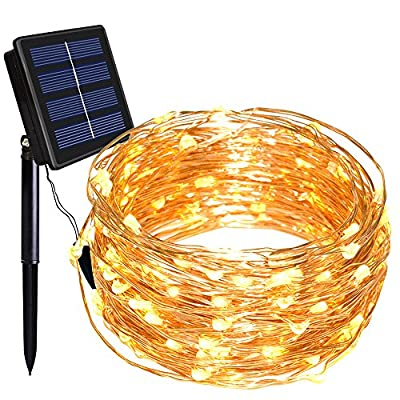Dolucky Solar Christmas Lights, 55FT 150LED Solar Fairy Lights, 8 Modes Waterproof Copper Wire Solar String Lights for Party Home Garden Christmas Indoor/Outdoor Decor (Warm White)