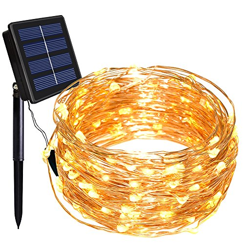 Dolucky 55ft 16m 150 LED 8 Modes Solar String Lights, Solar Fairy Lights Powered Copper Wire Lights Waterproof Outdoor for Garden Patio Gate Yard Party Wedding (Warm White)
