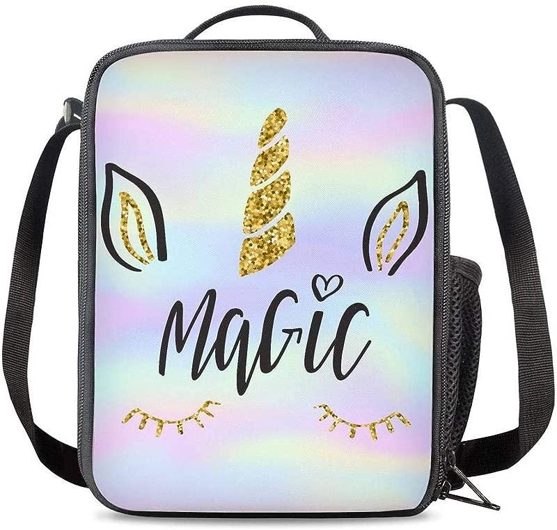 PrelerDIY Tie Dye Magic Unicorn Lunch Bag Carrying Tote Insulated School Lunchbox Reusable Snack Bag For Girls Boys