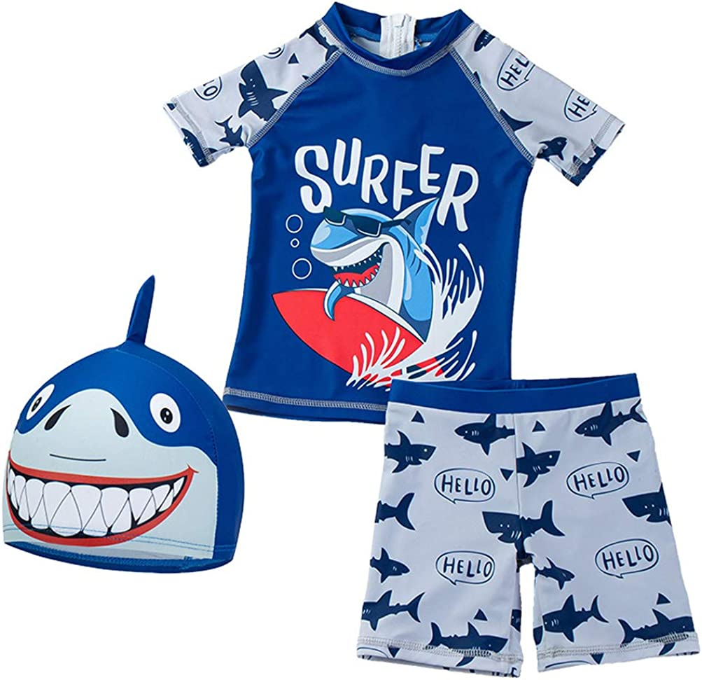 Baby Toddler Boys Two Pieces Swimsuit Set Swimwear Shark Bathing Suit Rash Guards with Hat UPF 50+