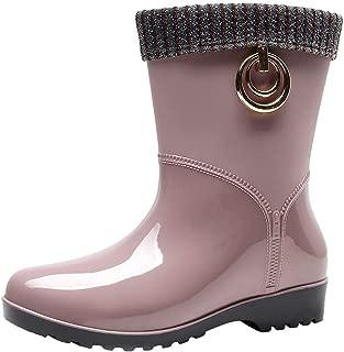 Slip-on Square heel Rain Booties For Women's Sagton Punk Style Mid Warm Snow Boots Women's Non-Slip Rain Boots Outdoor Water Shoes