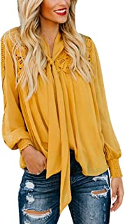 Lace Tops Women Casual Solid Long Sleeve Tie Up Soild Loose Shirt Blouse