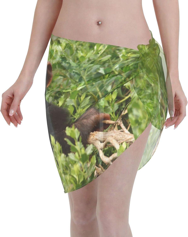 Monkey Women Beach Short Sarongs Cover Ups Beach Swimsuit Wrap Skirt Black