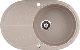 Granit Einbauspüle Küchenspüle Spülbecken Spüle mit Abtropffläche oval beige 78 x 50 cm