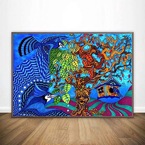 KWzEQ Cartel de ilusión Abstracta psicodélica Moderna póster de Arte de Pared e Impresiones Sala de Estar decoración del hogar,Pintura sin Marco,30X45cm