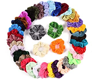 DAYONG 40PCS Hair Scrunchies Velvet Elastics Circle Hair Decoration Concise Hair Scrunchy Retro Stytle Elastics for Women ...