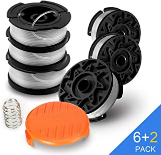 vicrays String Trimmer Spool Replacement for Black and Decker,AF-100 Weed Eater Spools with 30 Feet of .065-Inch Line, GH600 GH900 Edger with RC-100-P Spool Cap Covers (6 Spools, 1 Cap,1 Spring)