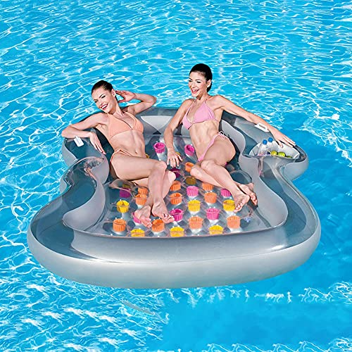 Water Floating Bed, Inflatable Rafts for Adults, Floating Island Raft Water Float Pool Lounge Fits Up To 2 People Great for Pool Lake,Float Party Toys