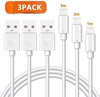 Quntis ライトニングケーブル 【3本セット 1/2/3m】 iPhoneケーブル USBケーブル スマホケーブル 同期とUSB データ転送 iPhone X 8 8Plus 7 Plus 6s Plus 6 Plus 5 5S 5C SE対応 断線防止 ホウイト