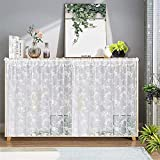 Gxi White Lace Curtain Valance Set of 2 Panels Cabinet Shelf Dust-Proof Embroidery Rod Pocket Kitchen Curtain Sheer Short Voile Panel Tulle Cafe Curtain Door Panel, Each W39 x L24 Inch