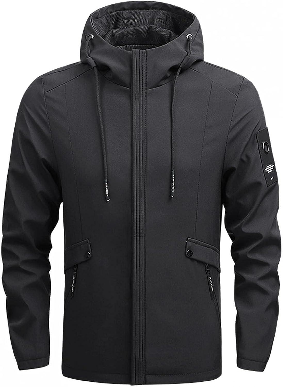Huangse Men's Jacket Windproof Winter Coat for Men Autumn Coat Rain Resistant Jacket with Fleece Bib and Hood