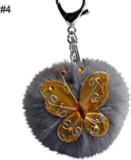 Sanwooden Cute Key Chain Fashion Butterfly Rhinestone Faux Fur Ball Keyring Key Chain Handbag Pendant Girl Fashion Accessories