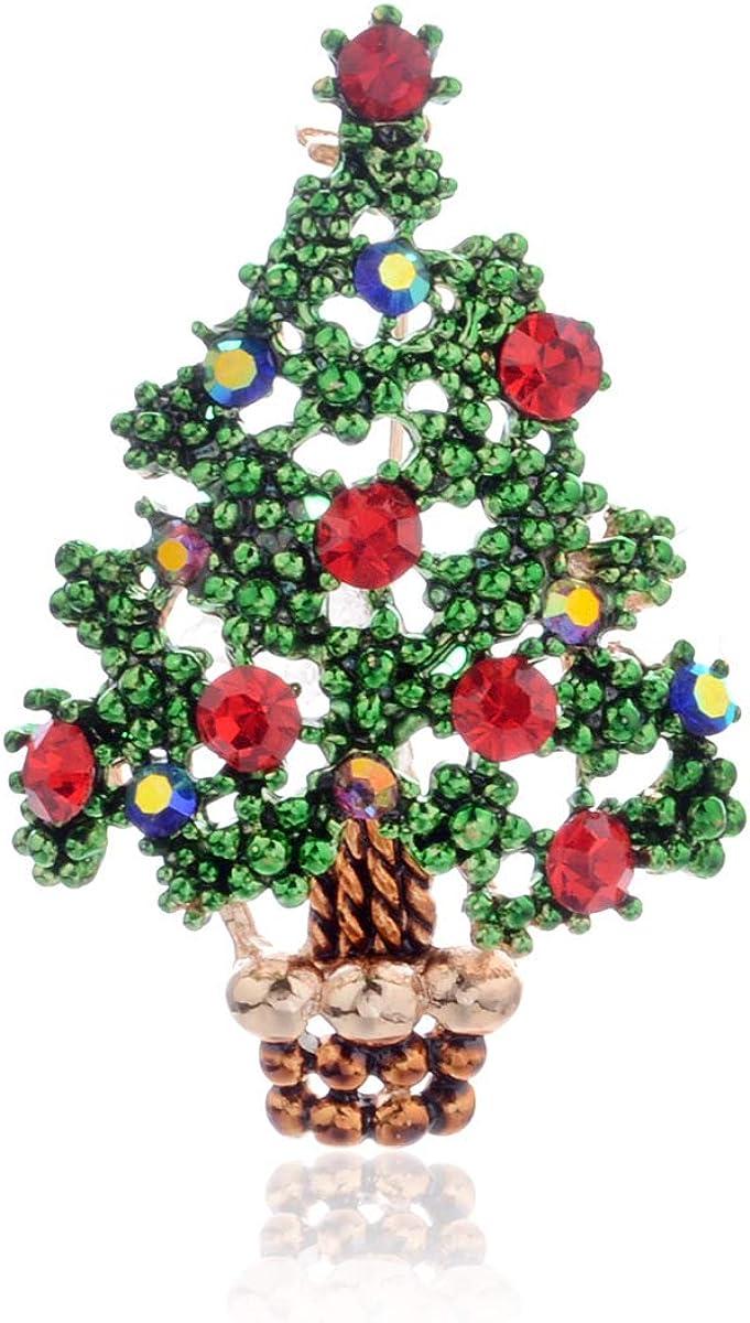 Tcplyn Premium Quality Rhinestone Large-scale sale Christmas Tree Cheap Brooch Crystal