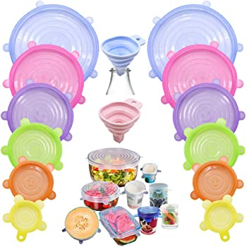 Silicone Stretch Lids,12pcs Food Covers Reusable Lids Expandable Containers with 2pcs Silicone Funnel