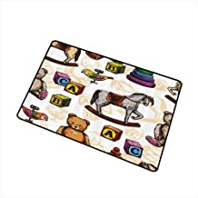 Mdxizc Printed Door mat Vintage Decor Retro Style Toys Rocking Horse Teddy Bear and Bird Illustration Print W16 xL20 Easy to Clean Brown and Grey