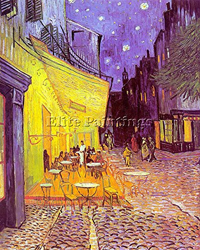 VAN GOGH CAFE TERRACE AT NIGHT ARTISTA QUADRO RIPRODUZIONE DIPINTO OLIO A MANO 50x40cm qualita museo