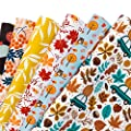 WRAPAHOLIC Wrapping Paper Sheet - Maple Leaf and Pumpkin Autumn Design for Fall Celebrating, Birthday, Holiday, Wedding, Baby Shower - 1 Roll Contains 6 Sheets - 17.5 inch X 30 inch Per Sheet
