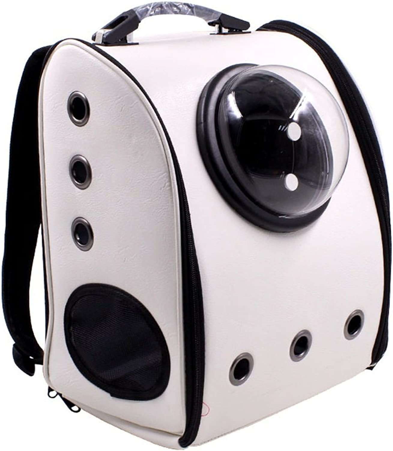EXCLVEAP Small Animals Bag Pet Space Backpack Out Portable Breathable Cat Dog Cabin Pet Supplies A Variety Of colors Optional Dog Carrier Backpack (color   White)