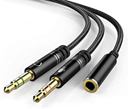 Headphone 3.5mm Splitter Mic Cable for Computer, KOOPAO Headset 3.5mm Female to 2 Dual Male Microphone Audio Stereo Jack Earphones Port to Gaming Speaker PC Adapter