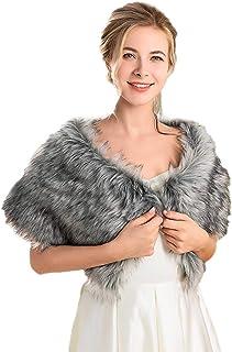 Ushiny - Scialle da sposa in pelliccia sintetica per sciarpe e scialli da donna