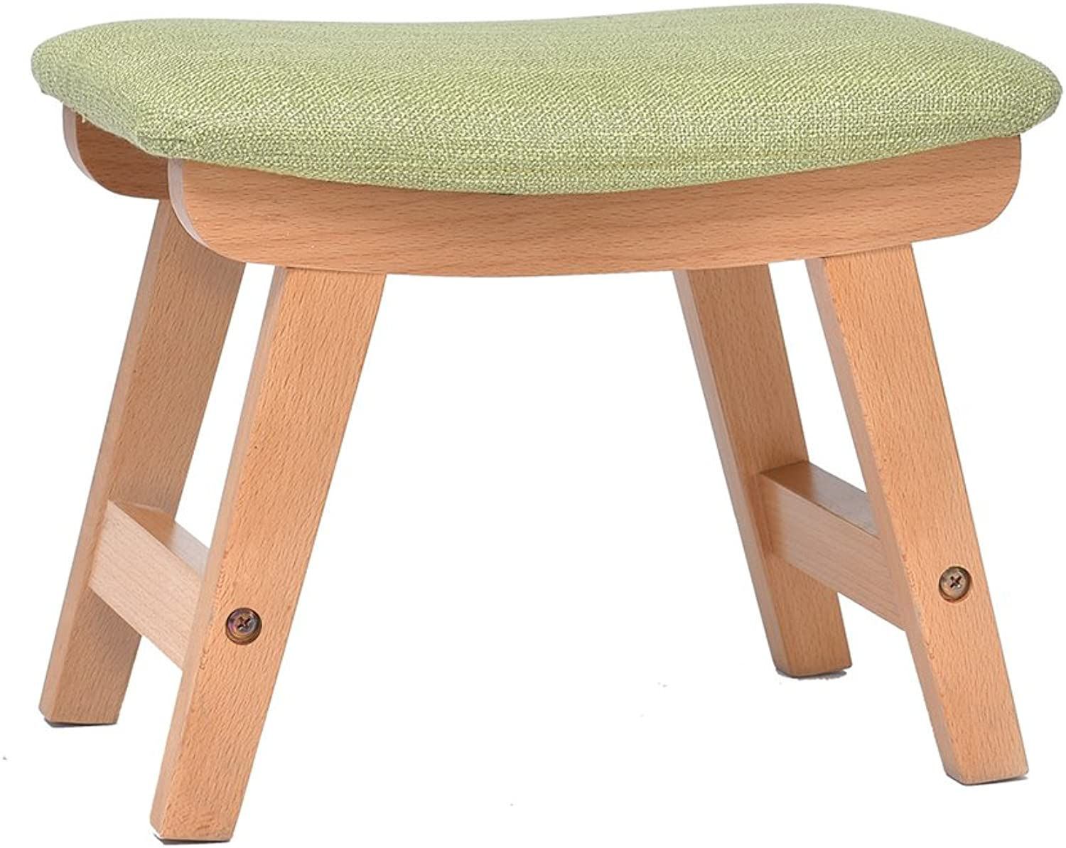 Imported Beech Wood color Small Stool Removable and Washable Design to wear shoes Stool 38.5  25.5  29cm (color   Green)