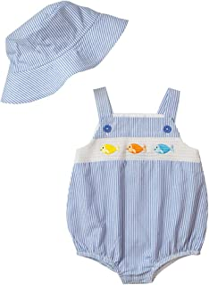 Good Lad Newborn/Infant Boys Seersucker Smocked Bubbles with Matching Seersucker Hat