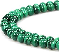 JARTC 8mm Natural Malachite Gemstone Round Loose Beads for Jewelry Making