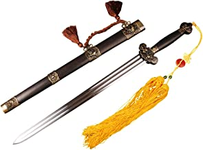 YJ COOL Lion Jian Chinese Sword Double Bo-hi High Carbon Steel Blade Blackwood Scabbard