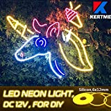 KERTME DC12V Silicon Neon Led Light Strip, Safety, Super-Bright, Flexible & Waterproof Rope Light for Advertising Signboard, Brand Logo, Home Shop DIY Design Decor (6x12mm, 16.4ft/5m, Yellow)