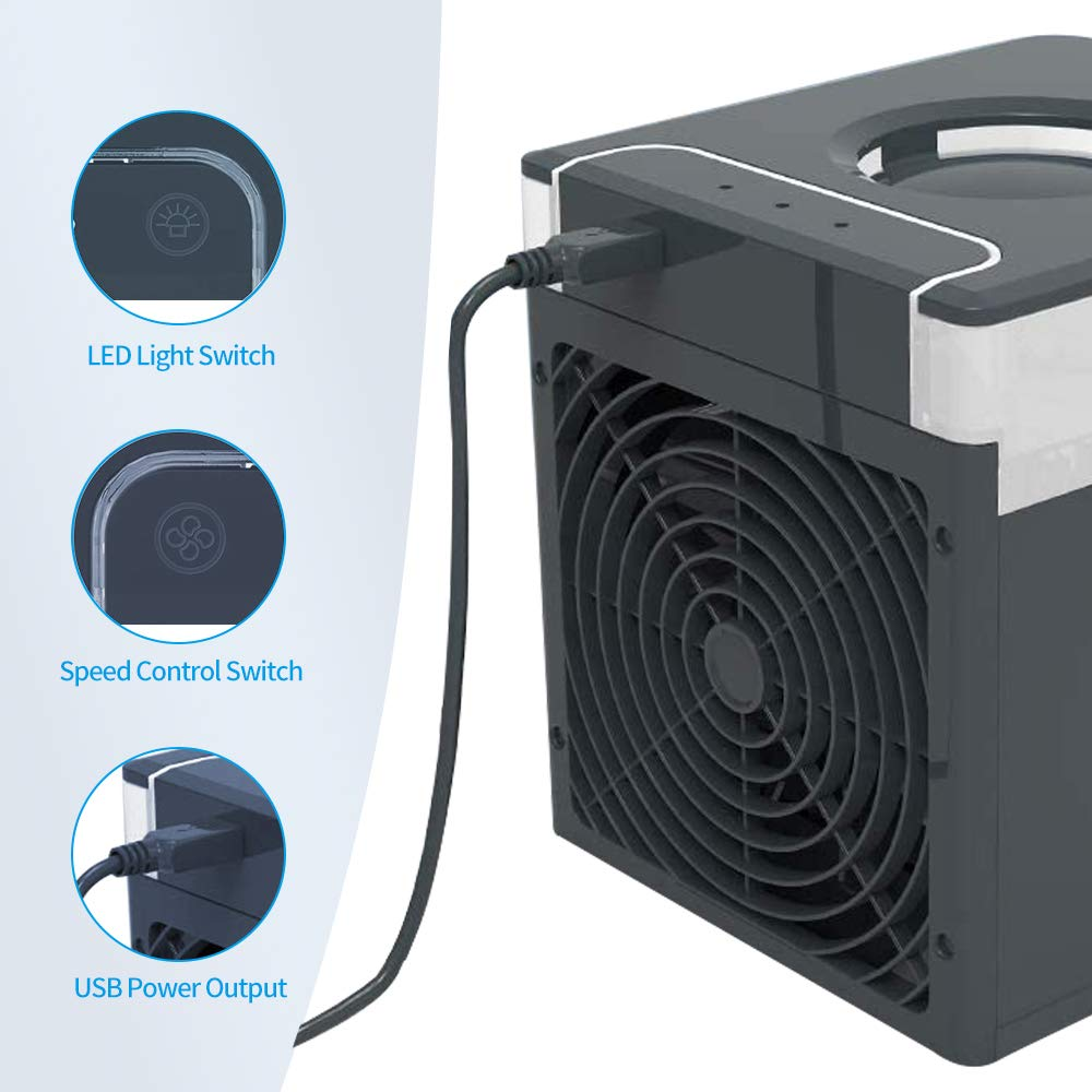 JIMACRO Aire Acondicionado Portátil, NEXFAN Air Cooler Humidificador,USB Oficina Ventilador de Escritorio Aire Personal Enfriador Climatizador para el hogar, al Aire Libre (Negro): Amazon.es: Hogar