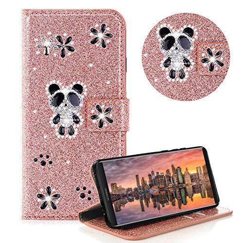 Moiky Diamond Etui Portefeuille pour Huawei Mate 10 Pro,Strass Étui à Rabat pour Huawei Mate 10 Pro,Ultra Mince Élégant Mignon Panda Rose Gold Briller Supporter Cuir Clapet Coque avec Flex Soft TPU