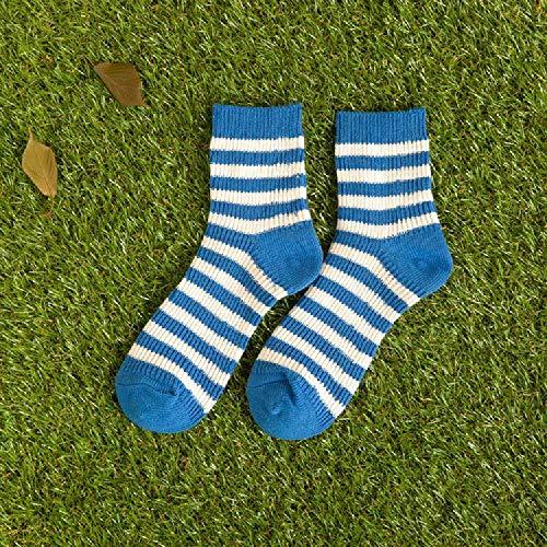 XIAOPENG Socken Frauen Herbst Und Winter Baumwollsocken Gestreiften Flor Socken Wolle Mitte Rohr Socken Gestrickt Bördeln Weiblichen Socken Einheitsgröße / 15-25 Thick Line Blue