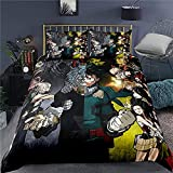 GD-SJK Amacigana My Hero Academia Juego de ropa de cama con impresión 3D, 100% poliéster, funda nórdica animada, ropa de cama infantil para dormitorio niño y niña (My Hero Academia5,220 x 240/80 x 80)