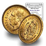 1905 MX - 1955 (Random Year) Mexican Gold 5 Pesos Coin .1205 Troy oz Brilliant Uncirculated with Certificate of Authenticity by CoinFolio - Moneda de oro 5 MX BU