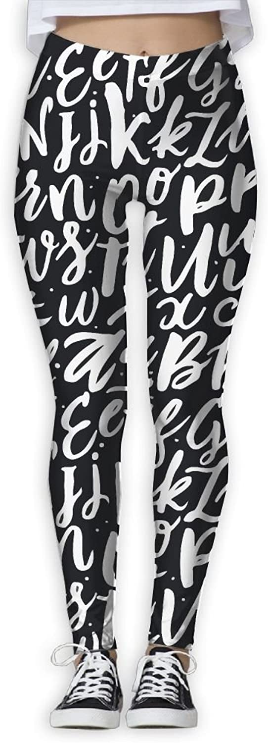 English Alphabet Doodle Women's Printed Yoga Leggings Sport Pants Stretchy Tights Elastic