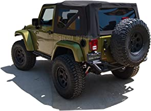 Sierra Offroad Factory Style Soft Top Replacement, compatible with Jeep Wrangler 2 Door 2010-2018, Sailcloth Vinyl, Black