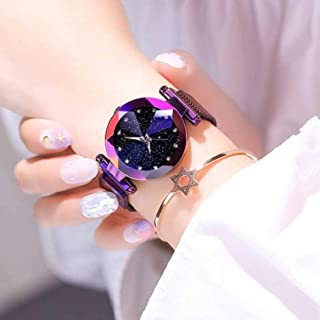 Acnos Black Round Diamond Dial with Latest Generation Purple Magnet Belt Analogue Watch for Women Pack of - 1 (DM-PURPLE05)