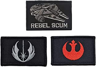 SOUTHYU 3 Pack Star Wars Rebel Scum/Jedi Order/Rebel Insignia Tactical Morale Patches Military Emblem Embroidered Badge, Hook & Loop Patch