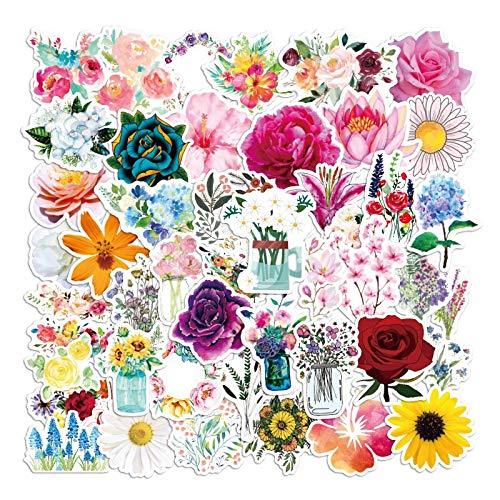 50PCS Verschiedene Pflanzen Frische Blumen Rosen Aufkleber für DIY Briefpapier Laptop Aufkleber Sammelalbum Skateboard PS4 Gitarren Helm Aufkleber