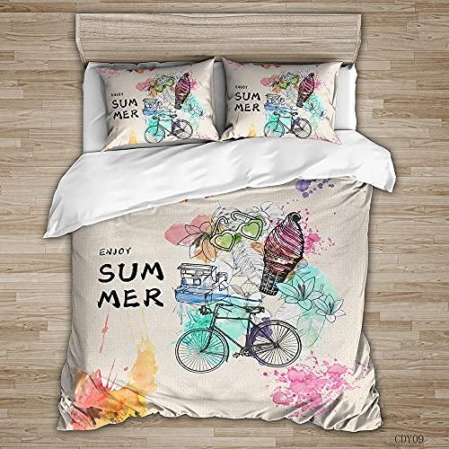 QHDXL Funda Nordica Cama 150cm Bicicleta De Color Caqui Claro Juego de Ropa de Cama 1 Microfibra Funda Nórdica y 2 Fundas de Almohada 50x75,Fundas Nórdicas Suave y Transpirable