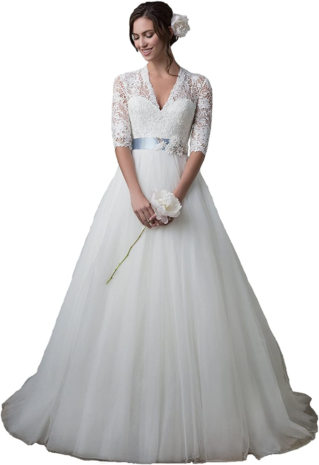 Irenwedding Women's V Neck Applique Lace Half Sleeve Flower A Line Wedding Dress