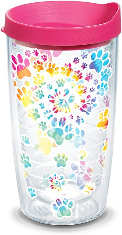 Tervis 1303006 Project Tie Dye Paw Heart IHeartDogs 16oz Tumbler With Lid 16 Oz Clear