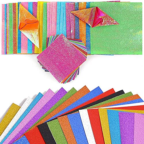 BigOtters Glitter Cardstock Paper & Origami Paper, 20 Sheets Sparkly Paper Premium Craft Cardstock 200 Sheets Square Shiny Iridescent Paper Folding Paper Handcraft Paper for Kid DIY (Pack of 2)